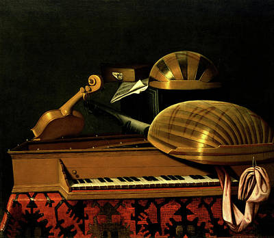 Still Life With Musical Instruments And Books Art Print