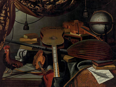 Globe Painting - Still Life With Musical Instruments by Bartolomeo Bettera