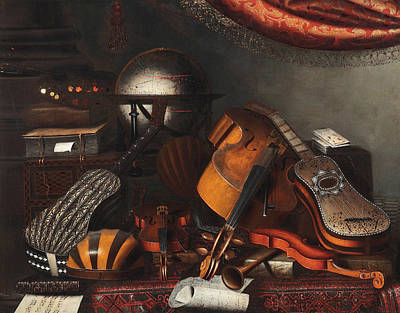 Globe Painting - Still-life With Musical Instruments, Books And Playing Cards by Bartolomeo Bettera