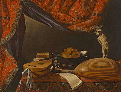 Painting - Still Life With Musical Instruments Books And Sculpture by Evaristo Baschenis