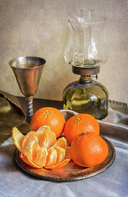 Art Print featuring the photograph Still Life With Oil Lamp And Fresh Tangerines by Jaroslaw Blaminsky
