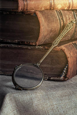 Photograph - Still Life With Old Books And Brass Loupe by Jaroslaw Blaminsky