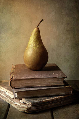 Photograph - Still Life With Old Books And Fresh Pear by Jaroslaw Blaminsky
