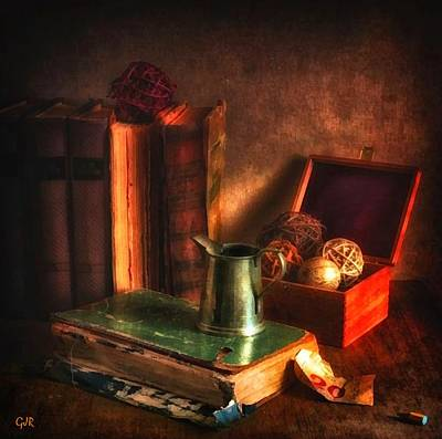 Still Life With Old Books And Pewter Jug L B Art Print