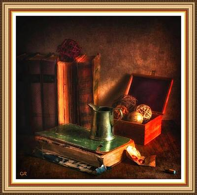 Still Life With Old Books And Pewter Jug L B With Decorative Ornate Printed Frame. Art Print
