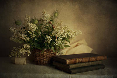 Still Life With Old Books And White Flowers In The Basket Art Print by Jaroslaw Blaminsky