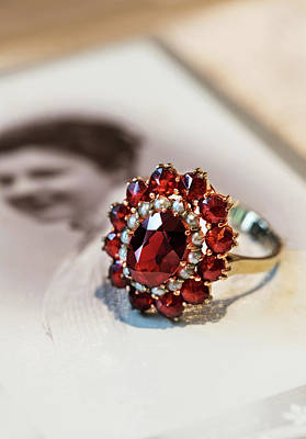 Photograph - Still Life With Old Photo And Ruby Stoned Ring by Jaroslaw Blaminsky
