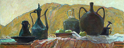 Painting - Still Life With Old Utensils by Juliya Zhukova
