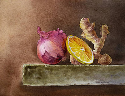 Vegetables Wall Art - Painting - Still Life With Onion Lemon And Ginger by Irina Sztukowski