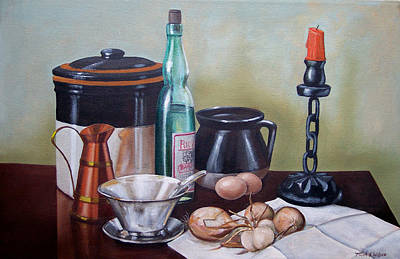 Wine-bottle Painting - Still Life With Onions And Eggs by Frank Wilson