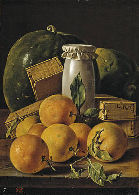 Luis Sales Painting - Still Life With Oranges Boxes Of Candy And Watermelons by Luis Egidio Melendez