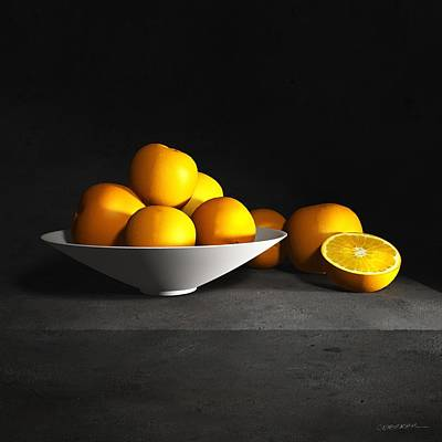 Still Life With Oranges Art Print by Cynthia Decker