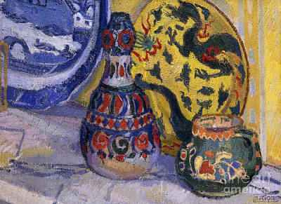 Pottery Painting - Still Life With Oriental Figures, 1913  by Spencer Frederick Gore