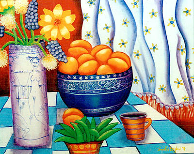 Still Life With Painted Vase Art Print by Jennifer England