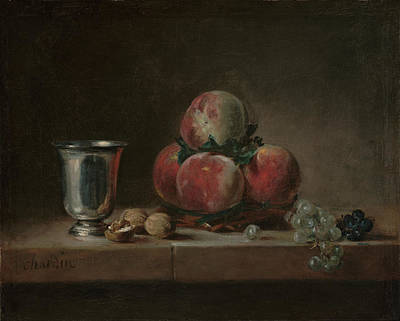 Still Life With Peaches, A Silver Goblet, Grapes, And Walnuts Art Print