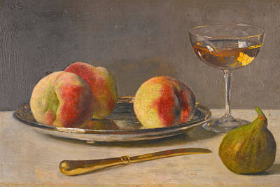 Painting - Still Life With Peaches And Fig by Otto Scholderer