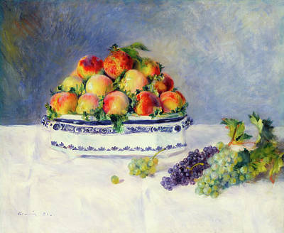 Table Cloth Painting - Still Life With Peaches And Grapes                               by Mountain Dreams