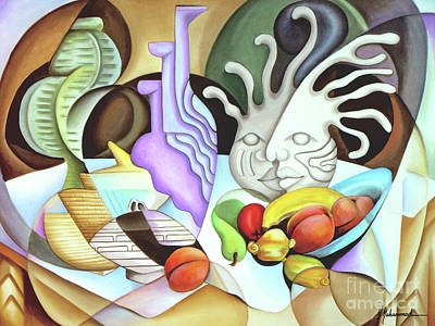 Still Life With Peaches Art Print by Marcella Muhammad