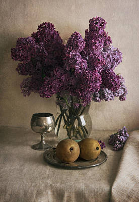 Art Print featuring the photograph Still Life With Pears And Fresh Lilac by Jaroslaw Blaminsky
