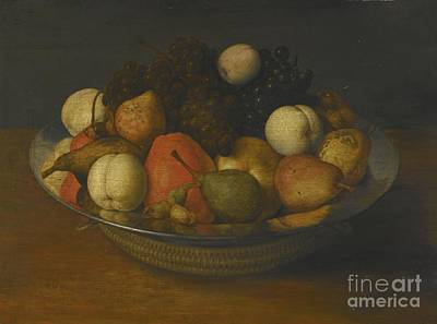 Pewter Painting - Still Life With Pears, Apples And Grapes In A Pewter Dish by MotionAge Designs