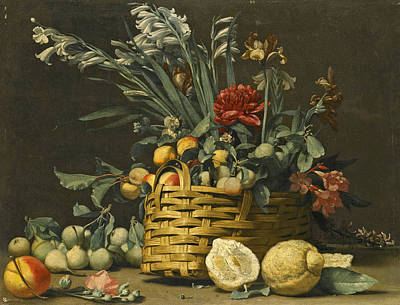 Still Life With Pears Apples Chrysanthemum And Other Flowers In A Basket Beside Two Large Lemons Art Print by Simone del Tintore