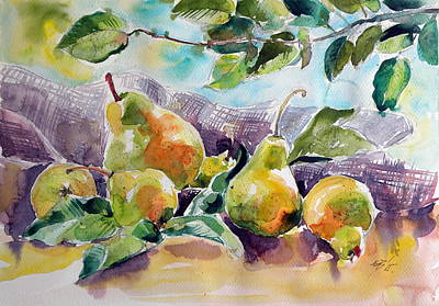 Pears Painting - Still Life With Pears by Kovacs Anna Brigitta