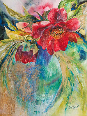Mixed Media Still Life Painting - Still Life With Peonies by Kate Bedell