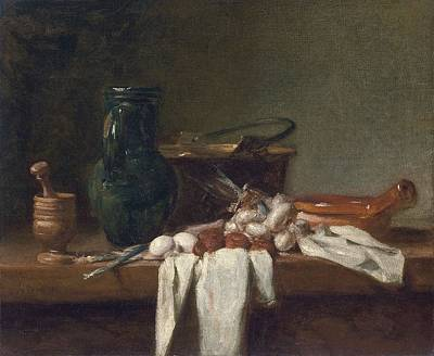 Landmarks Painting Royalty Free Images - Still Life with Pestle and Mortar, Pitcher and Copper Cauldron ca. 1728 - 1732 Jean Baptiste Simeon  Royalty-Free Image by Jean Baptiste Simeon Chardin