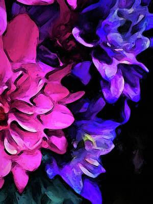 Digital Art - Still Life With Pink And Purple Flowers by Jackie VanO