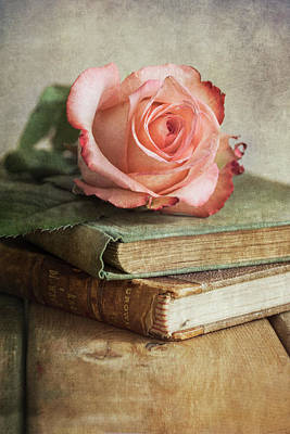 Photograph - Still Life With Pink Rose And Old Books by Jaroslaw Blaminsky