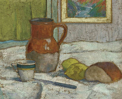 Still Life With Pitcher Painting - Still Life With Pitcher And Cup by Emile Bernard