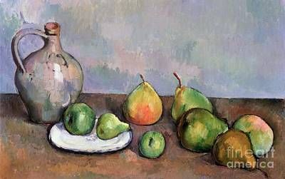 Pottery Painting - Still Life With Pitcher And Fruit by Paul Cezanne