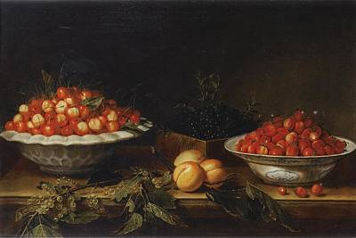 Painting - Still Life With Plate Of Cherries, Blueberries, Strawberries, Apricots And Gooseberries by Joseph Plepp