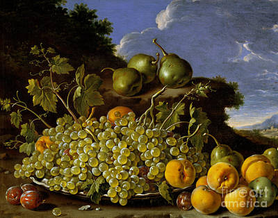 Pears Painting - Still Life With Plate Of Grapes, Peaches, Pears And Plums In A Landscape by Luis Egidio Melendez