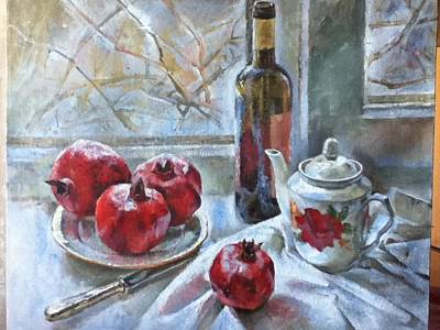 Silver Tea Pot Painting - Still Life With Pomagranates by Tanya Balaeva