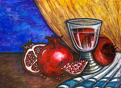 Painting - Still Life With Pomegranate And Goblet 1 by Rae Chichilnitsky
