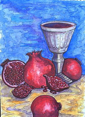 Painting - Still Life With Pomegranate And Goblet 2 by Rae Chichilnitsky