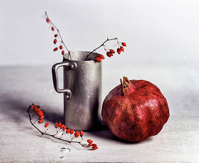 Crimson Photograph - Still Life With Pomegranate by Nailia Schwarz
