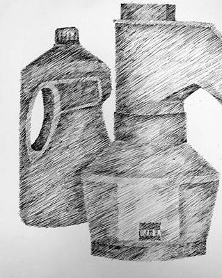Still Life Drawings - Still Life with Popcorn Maker and Laundry Soap Bottle by Michelle Calkins