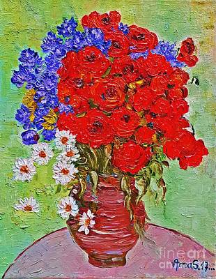 Painting - Still Life With Poppies And Blue Flowers by AmaS Art