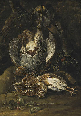 Painting - Still Life With Quails And A Partridge by Jan Fyt