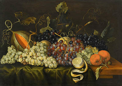 Still Life With Red Black And Green Grapes Art Print by Jacob Marrel