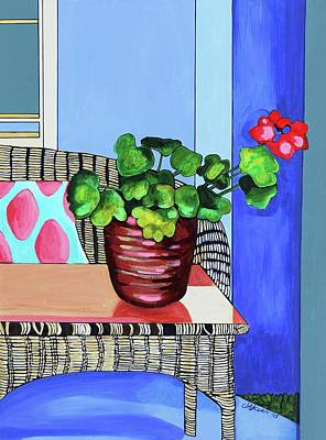 Pink Painting - Still Life With Red Geranium by Jacqueline Kern