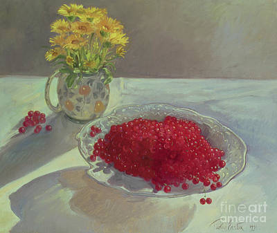 Pottery Painting - Still Life With Redcurrants And Marigolds by Timothy Easton