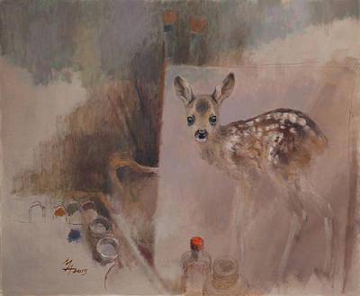 Painting - Still Life With Roe Fawn Painting by Attila Meszlenyi