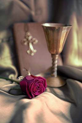 Cross Pendant Photograph - Still Life With Rose, Chalice And Old Book by Jaroslaw Blaminsky