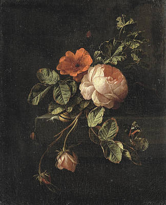 Antique Roses Vase Wall Art - Painting - Still Life With Roses, 1708 by Elias Van Den Broeck