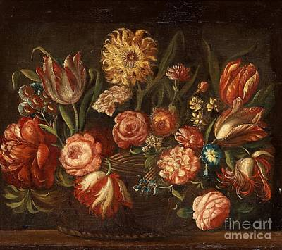 Still Life Painting - Still Life With Roses And Tulips by Celestial Images