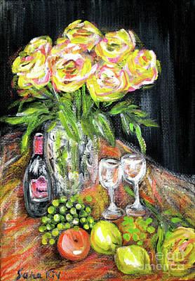 Painting - Still Life With Roses, Fruits, Wine. Painting by Oksana Semenchenko