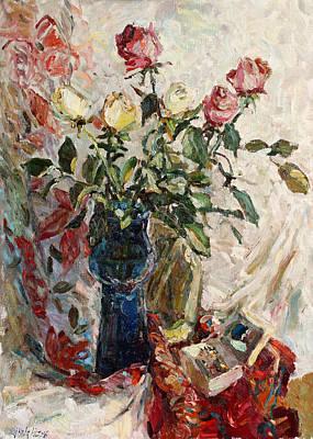 New Years - Still life with roses by Juliya Zhukova